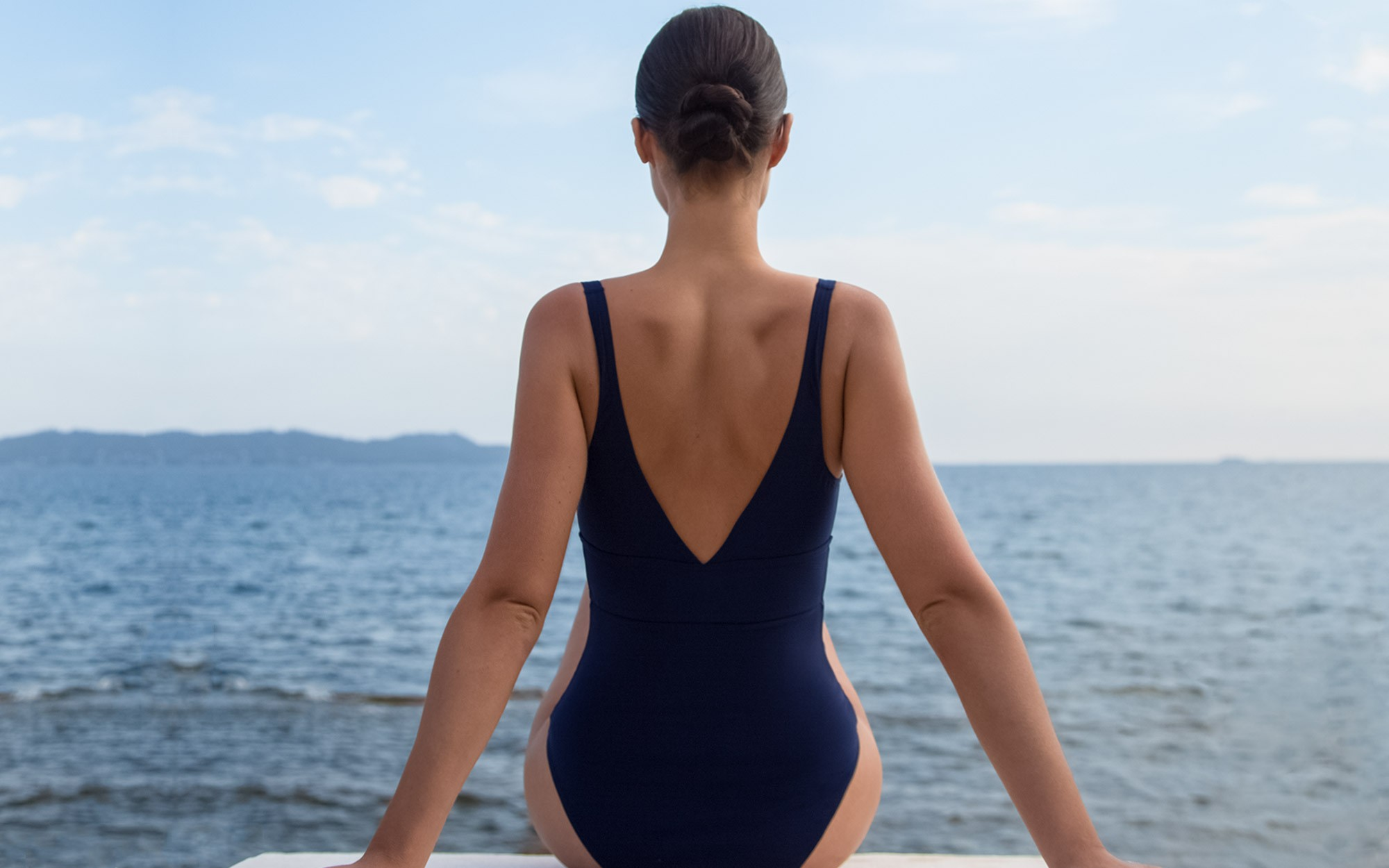 The navy swimsuit